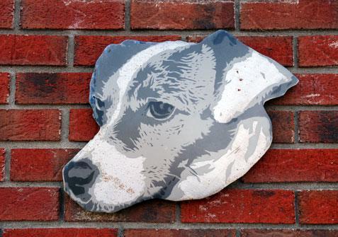 Dog sign, on front of hospital